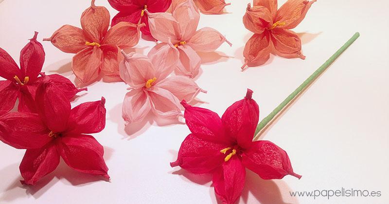 como hacer flor de papel de seda o china con pelota