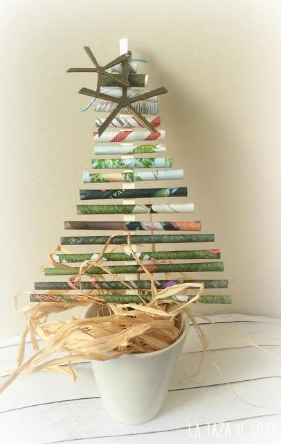 Arbol de Navidad con Palitos de Papel