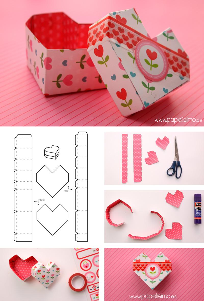 4 cajas de cartulina con plantilla (corazón, hexágono...) - PAPELISIMO