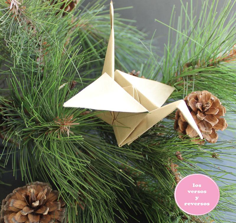 Grullas de origami decorar arbol de Navidad