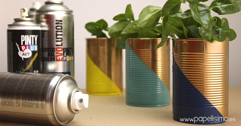 Latas spray macetas plant tin pot