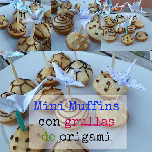 Muffins decorados con grullas de origami