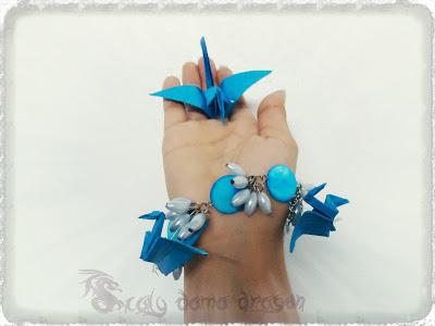 Pulsera de papel grullas origami