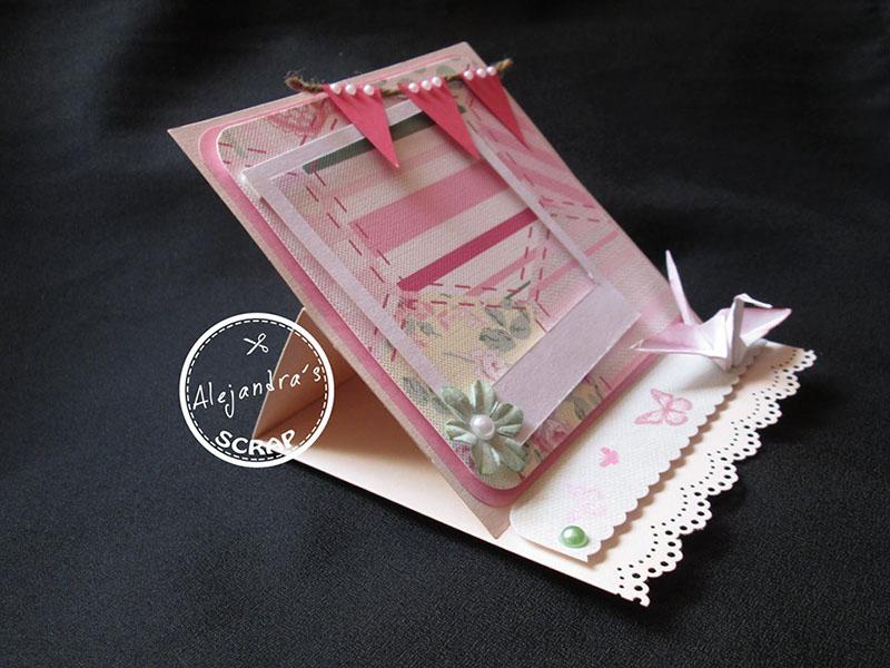 Tarjeta scrapbooking bebe con origami