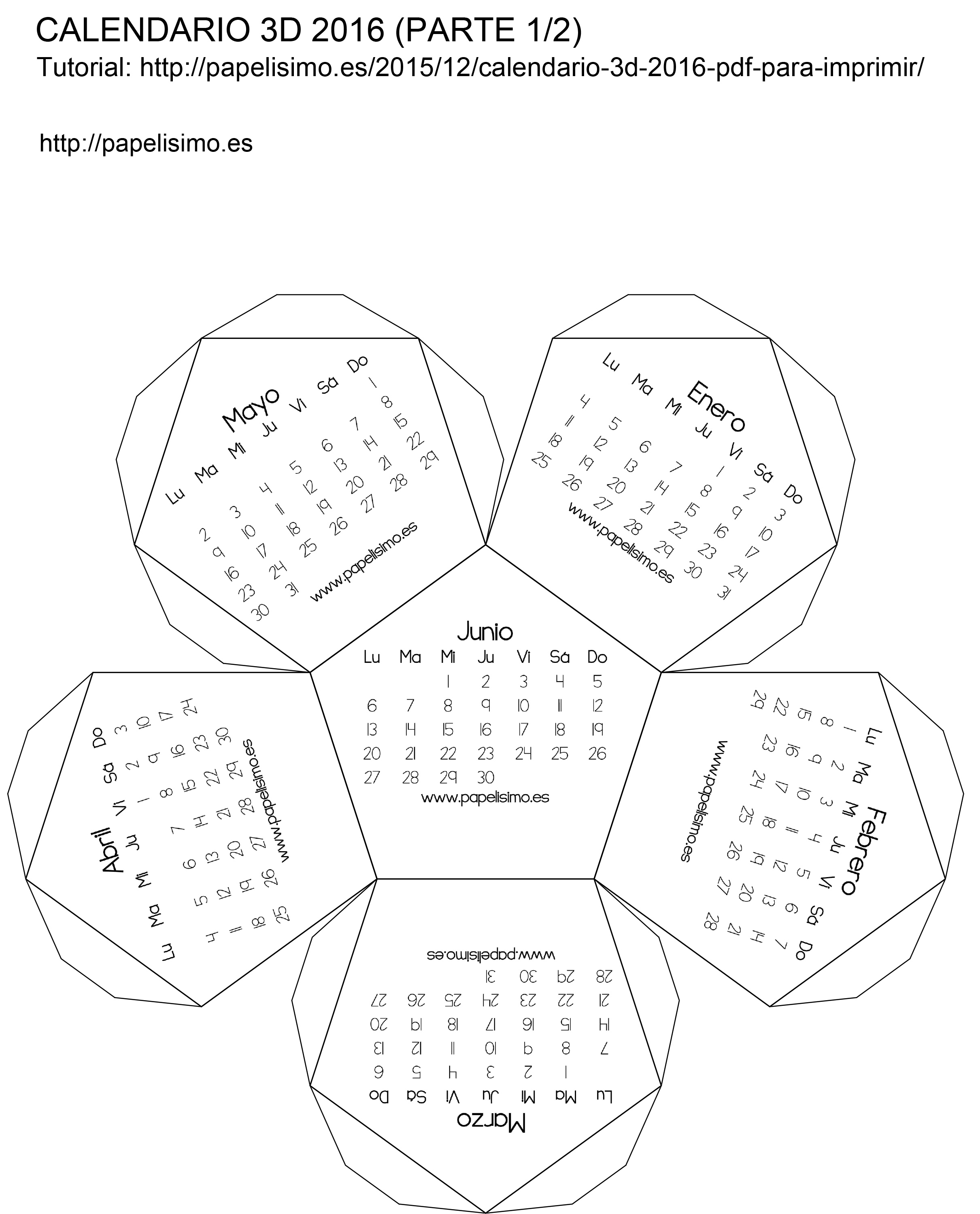 Calendario 3D 2016 (pdf para imprimir) - PAPELISIMO