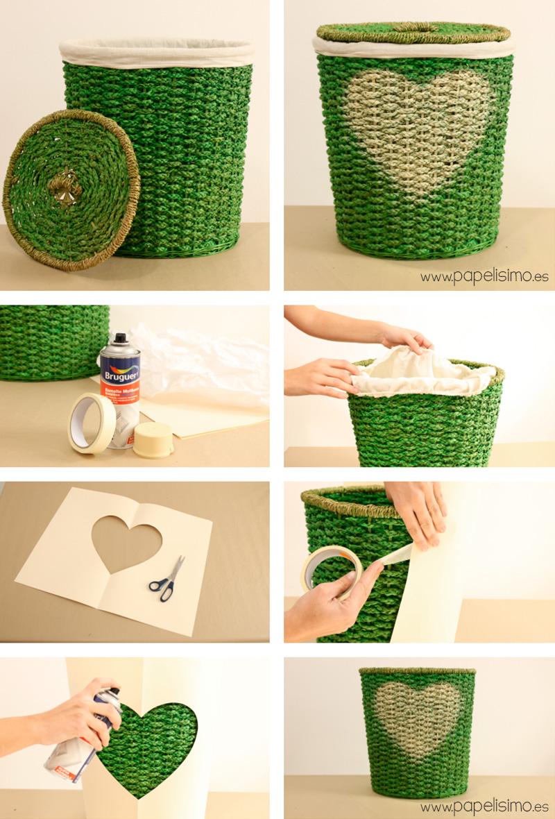 C mo pintar cestos para decorar en casa papelisimo - Como forrar cestas de mimbre ...