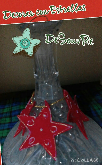 Decorar una botella con estrellas de Navidad