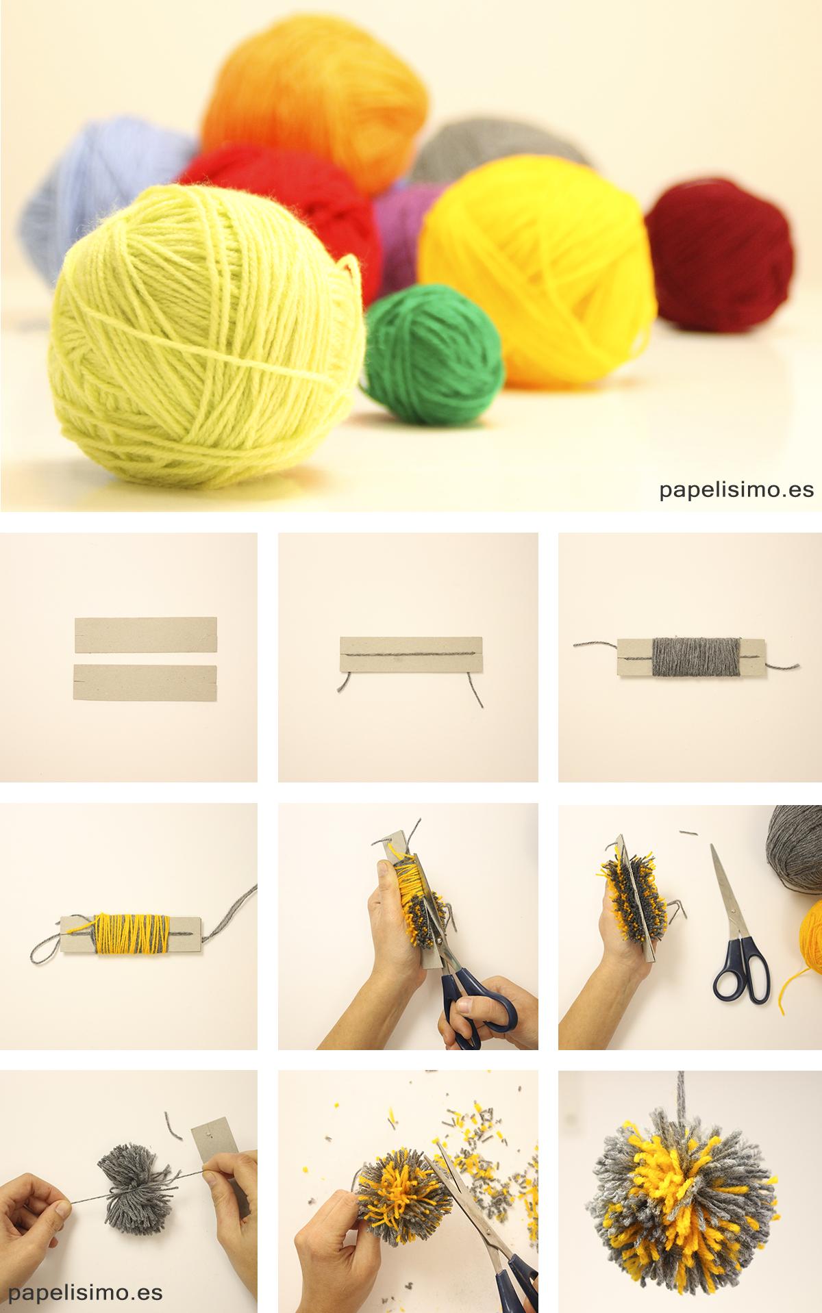 Como hacer pompones de lana con carton Yarn Pom Poms
